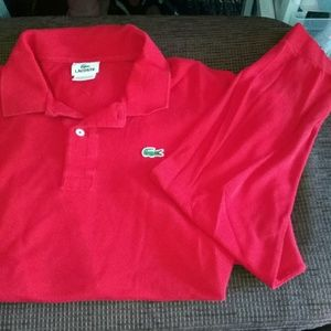 Lacoste Shirts - Lacoste Red Long Sleeve Polo Size 8